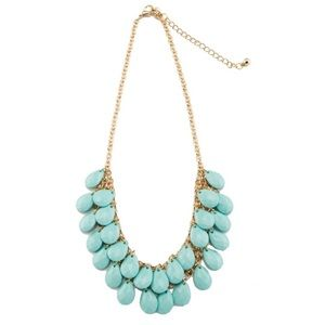 Teal Teardrops Statement Necklace